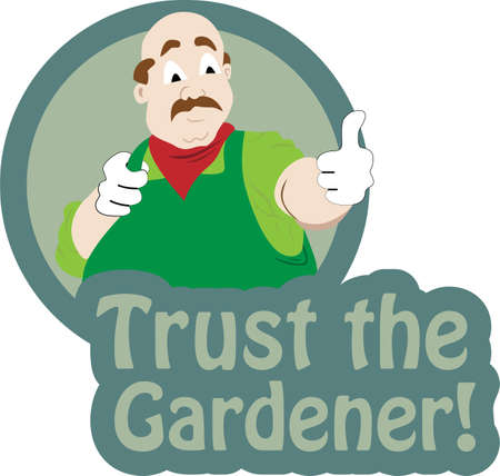 Vector illustration of a gardener  making thumb up sign and text trust the gardener Vector