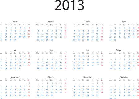 Editable template of 2013 calendar in German language Illustration