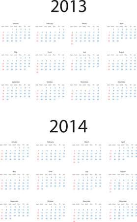 Editable calendar for 2013 and 2014 Stock Vector - 15125880