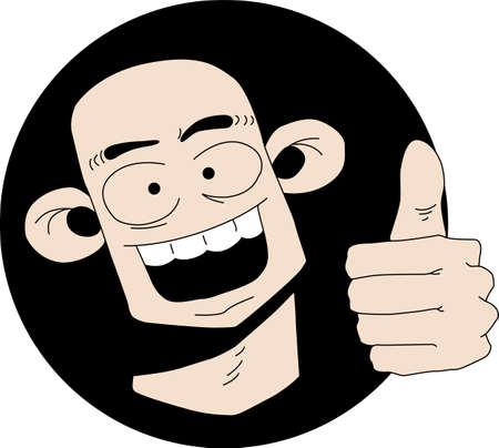 bald head: illustration of a funny cartoon character with thumb up sign
