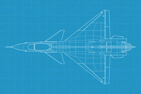High detailed illustration of a modern military airplane on blue print paper
