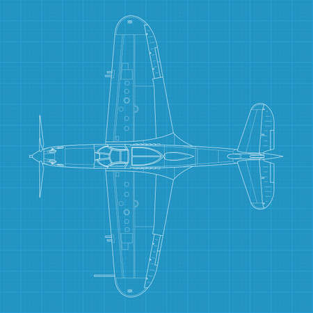 High detailed illustration of old military airplane Vector