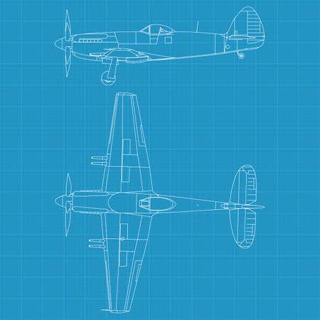 58be48ffa607 Banque d images - Haute illustration détaillée d un avion militaire ancienne  - dessus et vue de côté