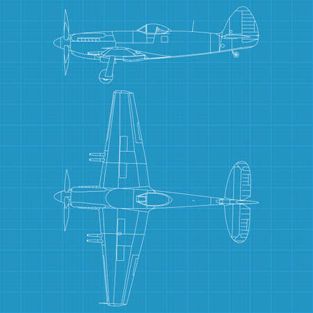 high detailed illustration of old military airplane - top and side view Vector