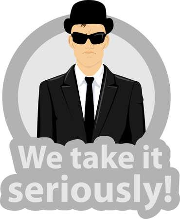 Ilustración de un hombre de negocios serio vestido con un traje negro, gafas de sol y un sombrero en un círculo con el texto - nos lo tomamos en serio
