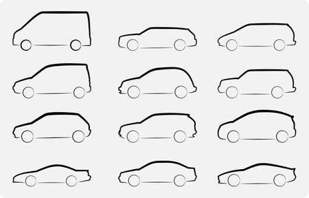 otomotiv: Çeşitli araç siluetleri Özet vektör çizim