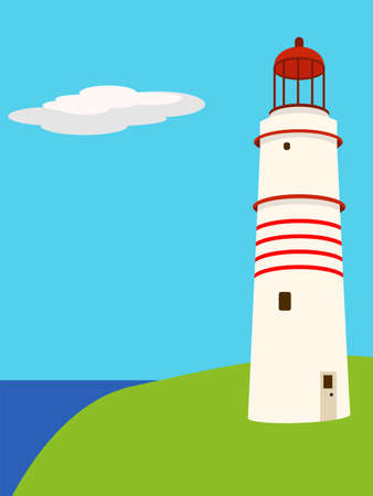 Vector illustration of a lighthouse on a calm day Vector