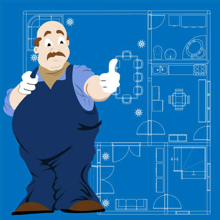 Old man construction worker making thumb up sign with a house blueprint on background Stock Vector - 16240613