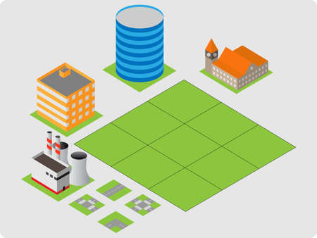 Vector pack of various isometric buildings with tiled elements, ready to use for city building game Stock Vector - 16240607