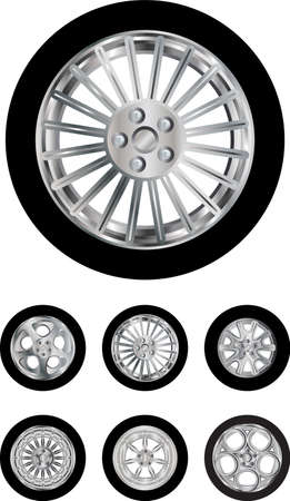 Vector pack of six car wheels models isolated on white Illustration