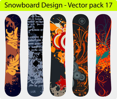 Snowboard design pack - five full editable designs - vector Illustration Stock Vector - 16240615