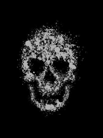 Abstract grunge vector illustration of a skull created from ink drops Vector