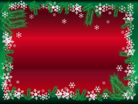 Vector Christmas background illustration with snowflakes and pine leafs Vector