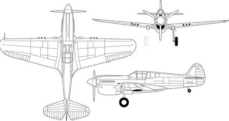 High detailed vector illustration of old military airplane - top, side and front view Stock Vector - 16240831
