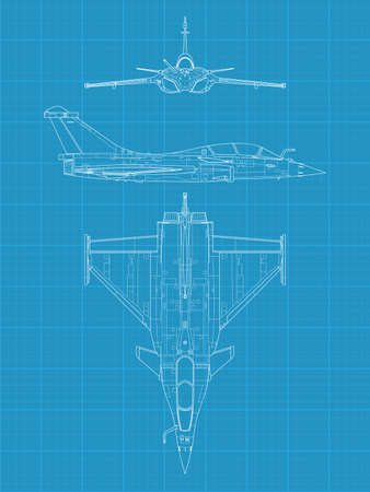 view from the plane: High detailed vector illustration of a modern military airplane on blue print paper