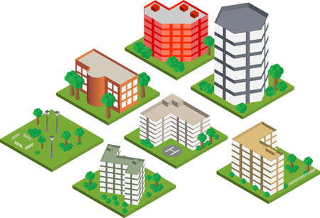 Vector pack of various isometric buildings with tiled elements, ready to use for city building game Vector