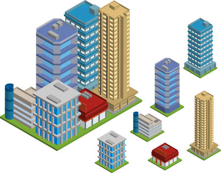 apartment block: Vector pack of various isometric buildings with tiled elements, ready to use for city building game