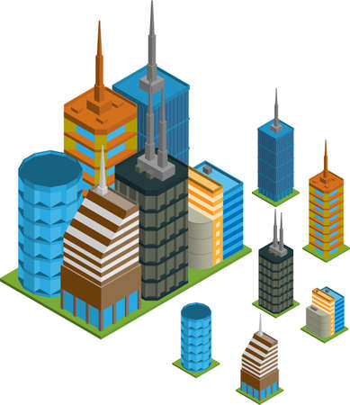 Vector Pack von verschiedenen isometrischen Gebäude mit gefliesten Elemente bereit, für city building Spiel verwenden Standard-Bild - 16240839