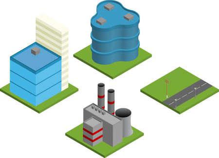 sky line: Vector pack of various isometric buildings with tiled elements, ready to use for city building game