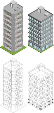 Vector pack of various isometric buildings with tiled elements, ready to use for city building game Stock Vector - 16240842