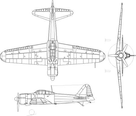 view from the plane: high detailed vector illustration of old military airplane - top, side and front view