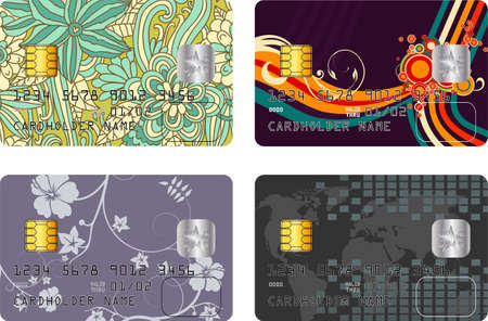 Abstract vector pack with four credit card designs Vector
