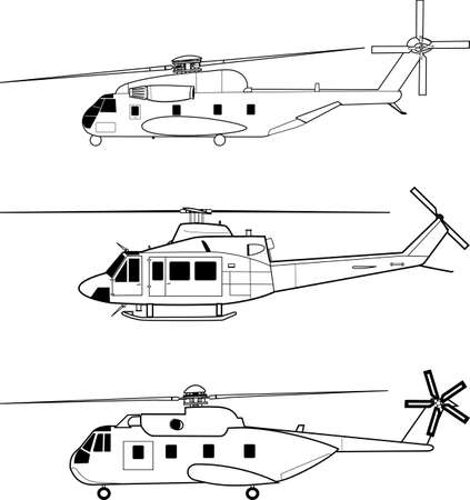 aircraft engine: Vector pack with three high detailed helicopters  Illustration