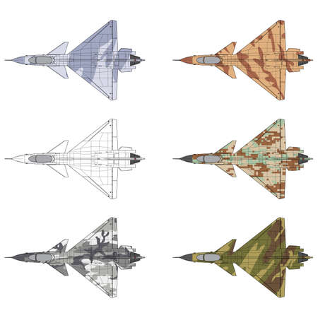 High detailed vector illustration of a military airplane top view with five camouflage patterns Illustration