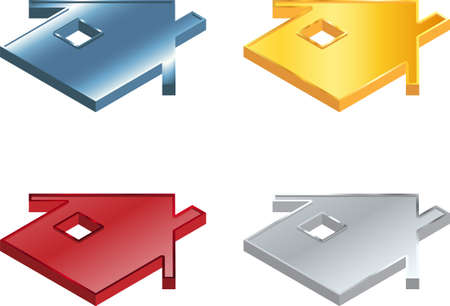 Vector illustration of four metallic house icons Stock Vector - 16600075