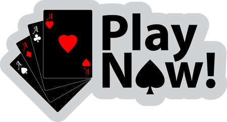 Vector illustration of winning poker hand of four aces  and text - Play now Vector