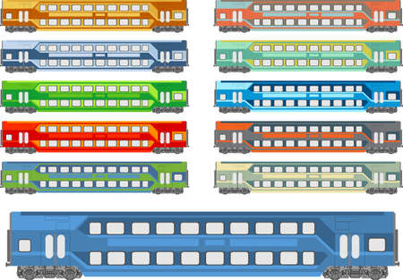 Vector illustration of a train coach in various color schemes Stock Vector - 16600078