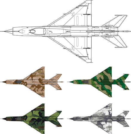 mig: High detailed vector illustration of a military airplane top view with four camouflage patterns Illustration