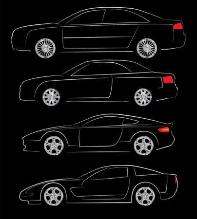 Abstract vector illustration of various car silhouettes Stock Vector - 16597996