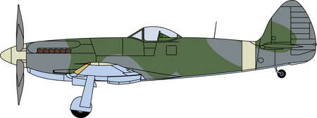 military silhouettes: Vector illustration of a supermarine airplane with color scheme - side view Illustration