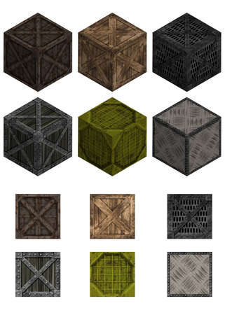 Illustration pack with six isometric crates and texture isolated on white Stock Illustration - 16589762