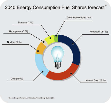 consumo energia: Vector infografic mostrando parti del carburante di consumo di energia previsti per l'anno 2040 in Stati Uniti