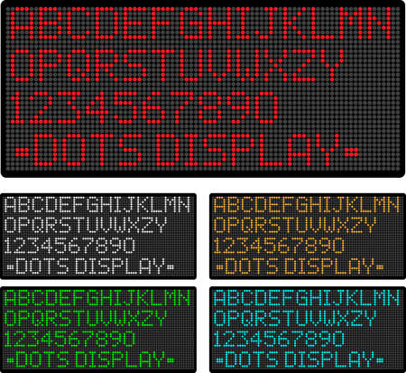 Vector display showing dots alphabet and numbers in five colors scheme