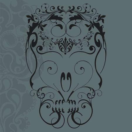 skull and flowers: ilustraci�n vectorial de cr�neo abstracto adornos florales Vectores