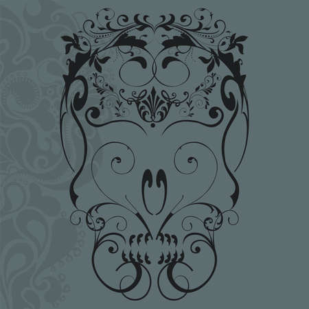 skeleton skull: vector illustration of abstract floral ornaments skull