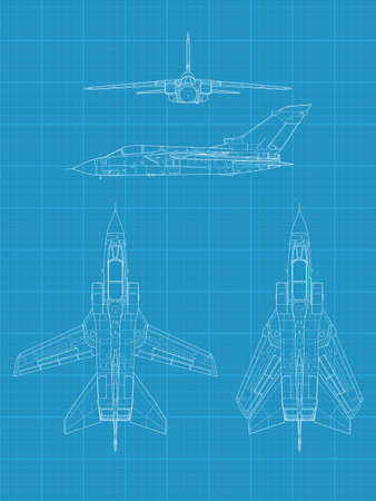 High detailed vector illustration of a modern military airplane on blue print paper