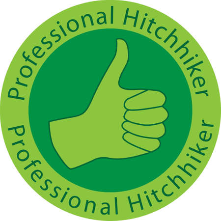 Vector illustration of a hand with thumb up sign and text - professional hitchhiker Stock Vector - 17296062