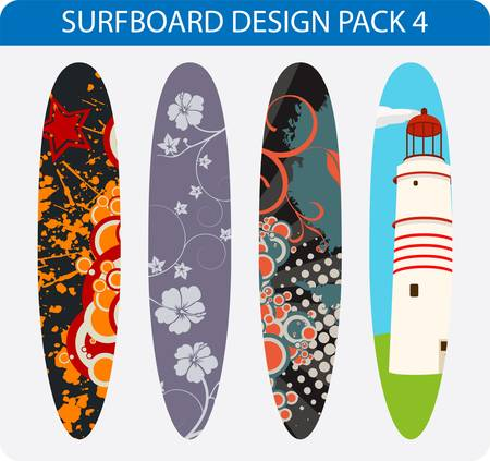 Vector pack of four colorful surfboard designs Stock Vector - 17296069