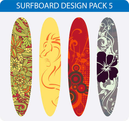 Vector pack of four colorful surfboard designs Illustration