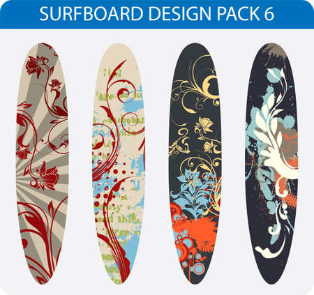 long life: Vector pack of four colorful surfboard designs Illustration