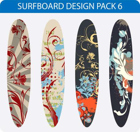 Vettore confezione di quattro disegni colorati tavole da surf