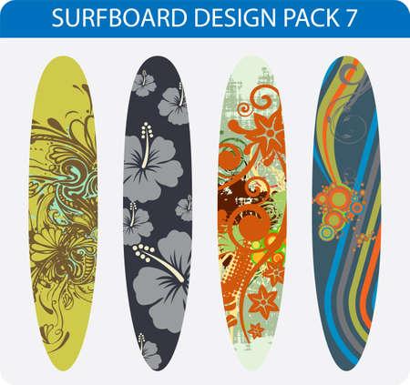 Vector Pack von vier bunten Surfbrett Designs