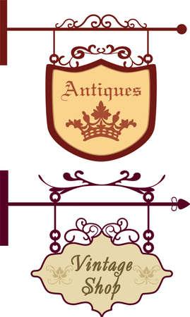puertas de hierro: Antiguo letreros vendimia ilustración vectorial Vectores