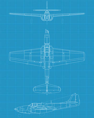 interceptor: high detailed vector illustration of old military airplane - top,front  and side view Illustration