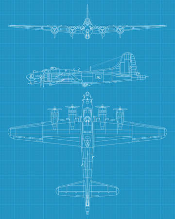 invader: high detailed vector illustration of old military airplane - top,front  and side view Illustration