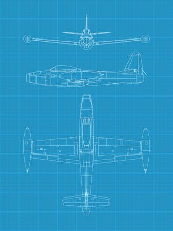 high detailed vector illustration of old military airplane - top,front and side view Stock Vector - 17982466